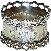 SALE Antique 1856 Sterling French Napkin Ring