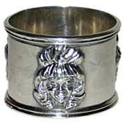 SALE Antique Sterling Napkin Ring - Girl in Bonnet