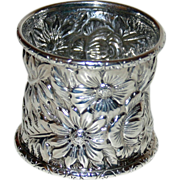 SALE Antique Repousse Sterling Napkin Ring with an array of Blooms and Leaves