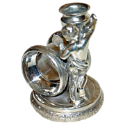 SALE Antique Figural Napkin Ring with  Beautiful Girl & Vase by Rockford Silver Plate Co.
