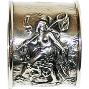 SALE Rare Antique Sterling Sea Goddess Napkin Ring--Art Nouveau