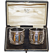 Hallmarked Sterling Pair Napkin Rings in Box, Sheffield 1895 by Atkin Brothers