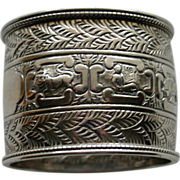 Antique English Sterling Napkin Ring with Astrological Signs by Gibson & Longman