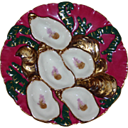 """SALE Antique Haviland Limoges Claret """"Turkey"""" Oyster Plate"""