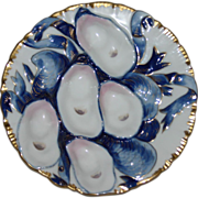 Antique Haviland Blue Oyster Plate (Turkey Plate)