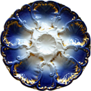 Antique French Flow Blue Cobalt and Gold Oyster Plate