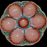 SOLD Vintage Sarreguemines Majolica Oyster Plate, Handsome Colors