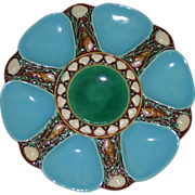 SALE Antique Minton Turquoise Majolica Oyster Plate 1867  - Fabulous