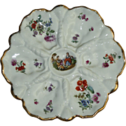 Antique German Oyster Plate with Shell Dividers and Charming Figures