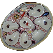 Antique UPW (Union Porcelain Works) Oyster Plate, Naturalistic Designs