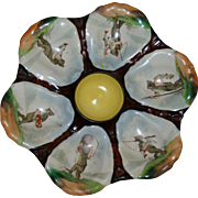 """Antique """"Fishing Elves"""" Oyster Plate, Hand Painted Wells"""