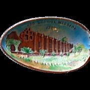 SALE Antique Sterling & Enamel Souvenir Spoon San Gabriel Mission, Los Angeles