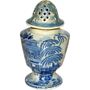SALE Antique Blue and White Transferware Sugar Shaker, Oriental Pattern, Very Early