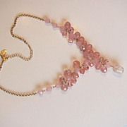 REDUCED Vintage Robert Rose Pink AB Necklace