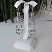 REDUCED Long Vintage Sterling Dangle Clear Rhinestones Earrings