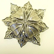 REDUCED Vintage Large signed Monet Silver Tone Brooch Pin