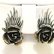 REDUCED Vintage signed Botticelli Rose Earrings