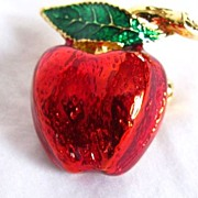 REDUCED Vintage Red and Green Enamel Apple Brooch Pin