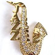 REDUCED Vintage Jazz Saxophone with Rhinestones Brooch Pin