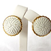 REDUCED Vintage Crown Trifari Dome Enamel Earrings