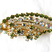 REDUCED Gorgeous Austria Olivine and AB Rhinestone Brooch Pin