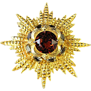 REDUCED Huge Van S. Authentics Starburst with Large Copper Glass Stone Brooch