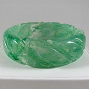 REDUCED Wide Carved Marbled Green Lucite Bangle Bracelet