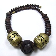 REDUCED Bold Wood Beads and Copper Necklace