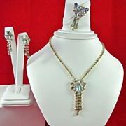 REDUCED Vintage AB Rhinestones Necklace Brooch and Earrings Set