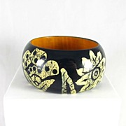REDUCED Vintage Wide Floral Painted Wooden Bangle