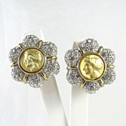Dazzling Large Faux Coin and Rhinestone Earrings