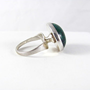 REDUCED Modernist Sterling Silver and Green Turquoise ring Size 7