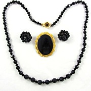 REDUCED Vintage Jet Black Glass Necklace Brooch Earrings Set