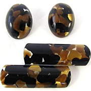 REDUCED Italian Modernist Confetti Lucite Brooch and Earrings