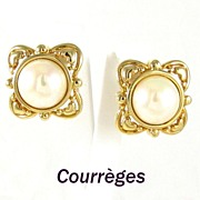 REDUCED Courreges Paris Large Simulated Pearl Earrings