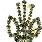 REDUCED Vintage Black Diamond Rhinestone Brooch Pin