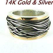 REDUCED Modernist 14 Kt Gold & Sterling Silver Ring Size 8