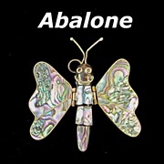 REDUCED Vintage Large Articulated Abalone Butterfly Pendant