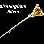 REDUCED Vintage Vermeil Sterling Silver Birmingham Tie Bar Clasp