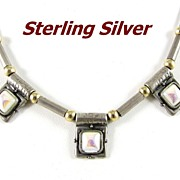 REDUCED Modernist Sterling Silver and MOP Choker Necklace