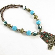REDUCED Bold Lucite & Wood Beads Necklace with Bells