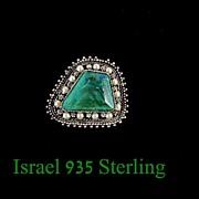 REDUCED Vintage Israel 935 Sterling Silver & Malachite Brooch Pendant