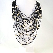 REDUCED Large Multi Strand Simulated Pearl Drape Bib Necklace