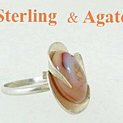 REDUCED Modernist Sterling Silver & Agate Ring Size 9