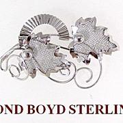 REDUCED Modernist Bond Boyd Sterling Silver Leaves Brooch