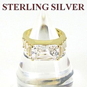 REDUCED Huge Sterling Silver Cocktail Engagement Ring Size 6