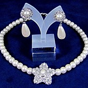 REDUCED Simulated Pearls and Rhinestones Necklace with Post Earrings