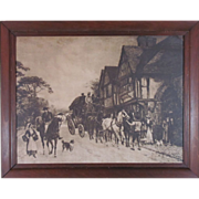 SALE Gorgeous Antique Black and White Lithograph of a Coaching Inn
