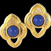 Vintage Large Monet Blue Lucite Clip Earrings
