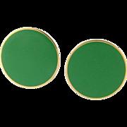 Vintage Large Monet Green Enamel Clip Earrings